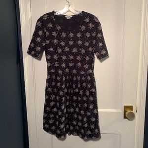 Boden Dark Navy Polka Dot Cluster Casual Dress